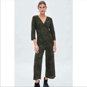 Zara Trafaluc Olive Animal Print Jumpsuit Small